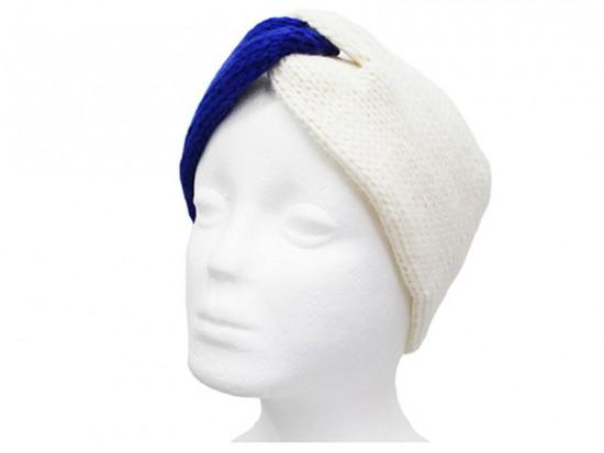 Blue White Crochet Knit Wrap Headband
