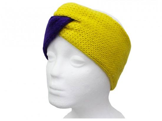 Purple Yellow Crochet Knit Wrap Headband