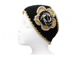 Black Gold Flower Crystal Knit Wrap Headband