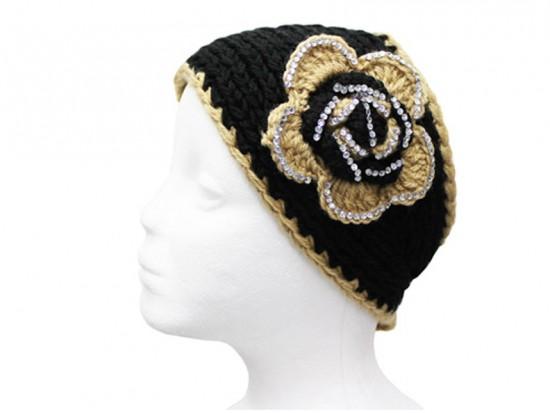 Black Gold Flower Crystal Knit Wrap Headband