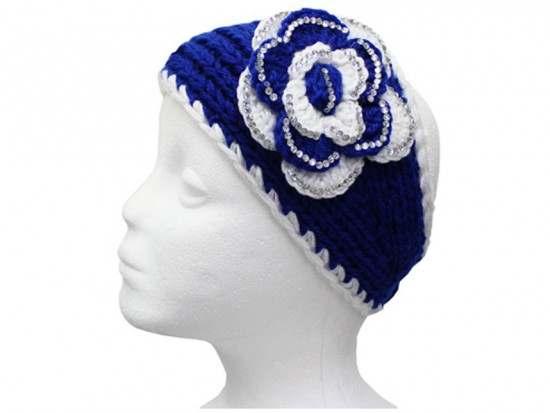 Blue White Flower Crystal Knit Wrap Headband