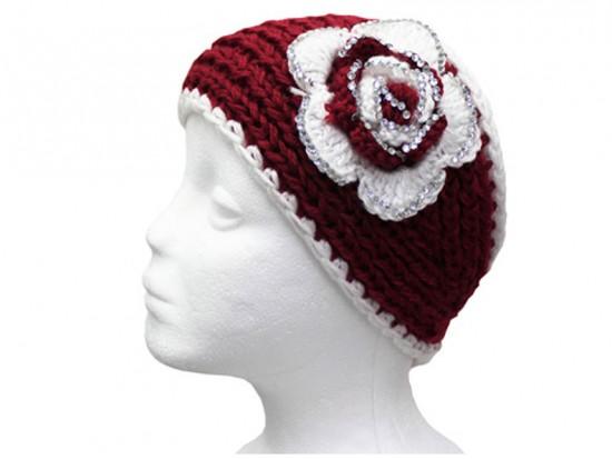 Maroon White Flower Crystal Knit Wrap Headband