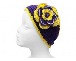 Purple Yellow Flower Crystal Knit Wrap Headband