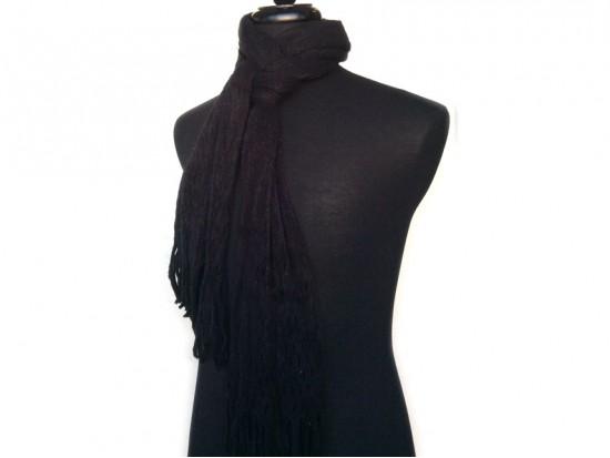 Black Crochet Knit Yarn Fringed Oblong Scarf