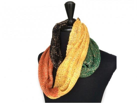 Orange Gold Black Green Yarn Knit Infinity Scarf