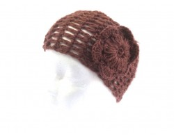 Brown Wide Crochet Headband With Flower