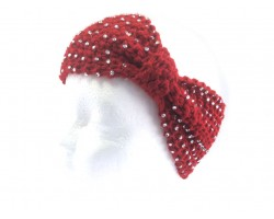 Maroon Knit Bow Headband With Crystals