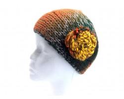 Dark Multi Knit Flower Headband Fall Colors