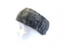 Gray Black Center Knot Knit Headband