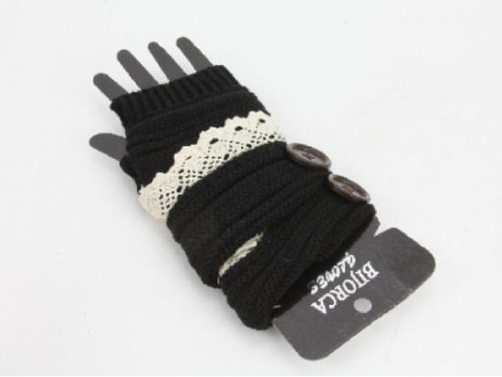 Black Knit Short Hand Warmer Gloves Lace Button