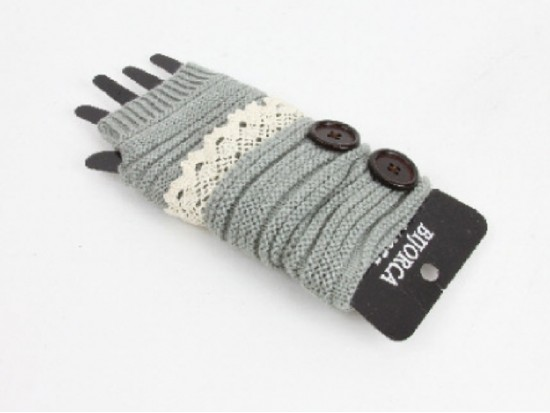 Gray Knit Short Hand Warmer Gloves Lace Button