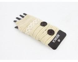Kaki Knit Short Hand Warmer Gloves Lace Button