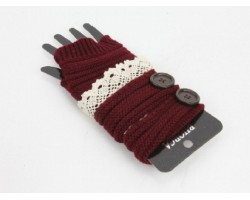 Maroon Knit Short Hand Warmer Gloves Lace Button