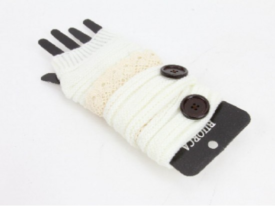 White Knit Short Hand Warmer Gloves Lace Button