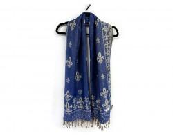 Blue Gold Fleur De Lis Pashmina Oblong Scarf