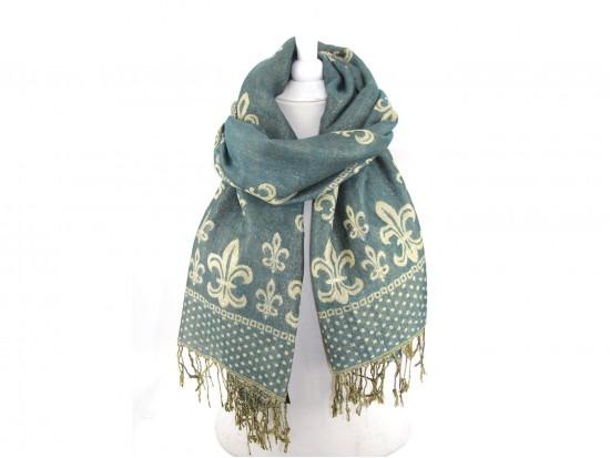 Green Gold Fleur De Lis Pashmina Oblong Scarf