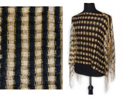Black & Gold Checker Shimmer Poncho