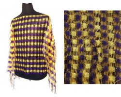 Purple & Gold Checker Shimmer Poncho
