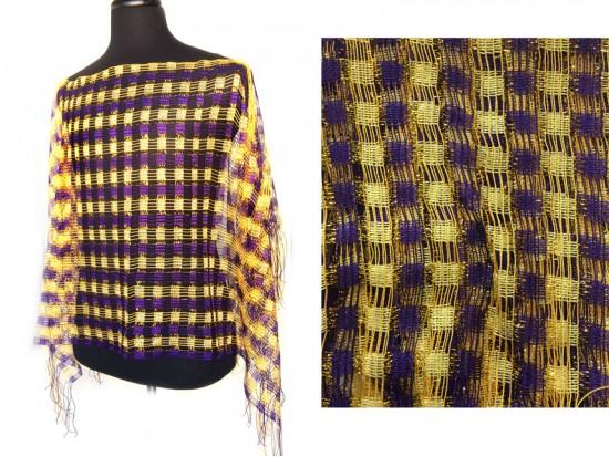Purple & Gold Checker Shimmer Poncho