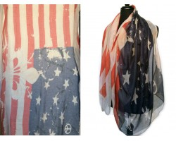 USA Flag Star Peace Sign Fleur de Lis Oblong Scarf