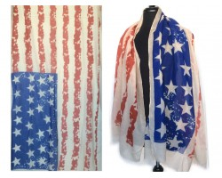 Red White Blue USA 28 Stars & Stripes Flag Scarf
