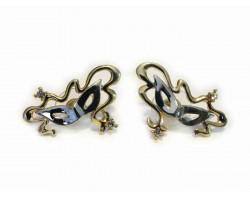 Gold Silver Mardi Gras Ribbon Mask Post Earrings
