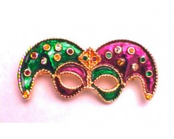 Mardi Gras Jester Mask Hat Pin Brooch