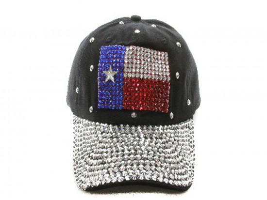 Red White Blue Crystal TEXAS Flag Black Cap