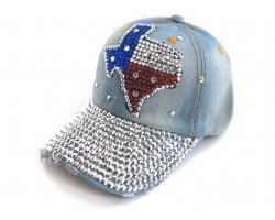 Red White Blue Crystal TEXAS Map Baseball Denim Cap
