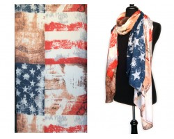 Red White Blue War Torn American Flag Oblong Scarf