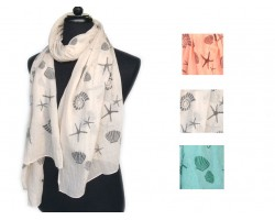 Assorted Color Sea Life Oblong Scarves 6pk