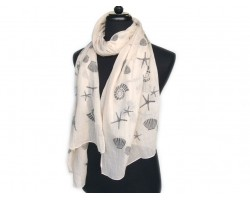 Off White Sea Life Oblong Scarf