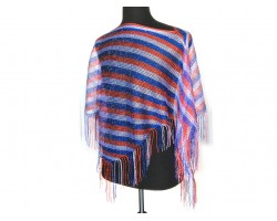 Red White Blue Stripe Loose Knit Shimmer Fringe Poncho