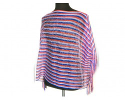 Red White Blue Stripe Rectangular Knit Shimmer Fringe Poncho