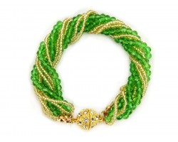 Green Gold Crystal Twist Bead Magnet Ball Bracelet