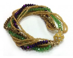 Mardi Gras Crystal Twist Bead Magnet Ball Bracelet
