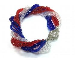 Red White Blue Crystal Twist Bead Magnet Ball Bracelet