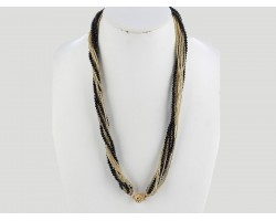 Black Gold Crystal Twist Bead Magnet Ball Necklace