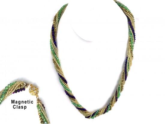 Mardi Gras Crystal Twist Bead Magnet Ball Necklace