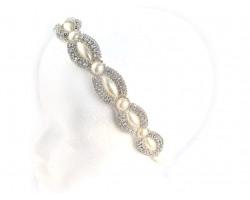 Pearl Crystal Marquise Round Stretch Headband