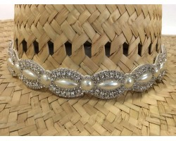 Pearl Crystal Marquise Round Stretch Hat Band