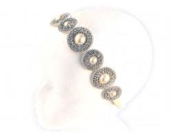 Pearl Round Stone Crystal Stretch Headband