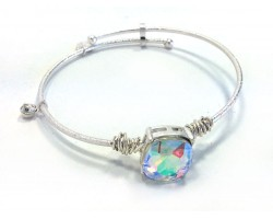 Clear AB Square Stone Wire Wrap Wire Silver Bracelet