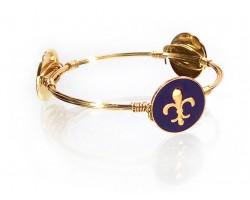 Purple Gold Fleur de Lis Charm Wire Wrap Bracelet
