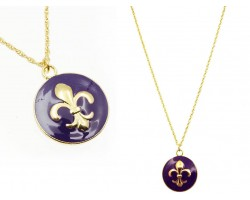 Purple Gold Fleur de Lis Charm Necklace