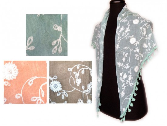 Assorted Embroidery Flowers Scarf 6pk