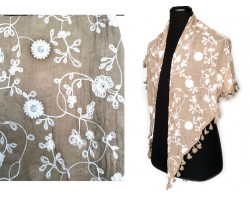 Champagne White Embroidery Flowers Scarf