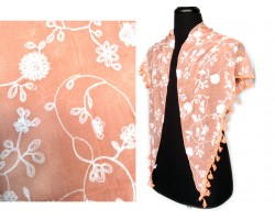 Peach White Embroidery Flowers Scarf