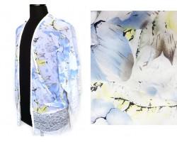 Light Blue Floral Lace Bottom Hem Cardigan