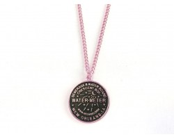 Antique Silver Water Meter Necklace